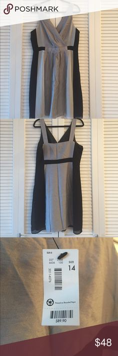 """NWT V-neck Dress from The Limited in Size 14. NWT black/gray/silver v-neck dress from The Limited in size 14. Dress is empire waisted with 1.5"""" straps, hits just above my knee and I'm 5'6"""". The Limited Dresses"""