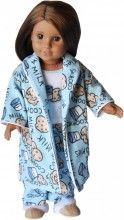 18 inch doll robe and Pj's with cookies and milk novelty print