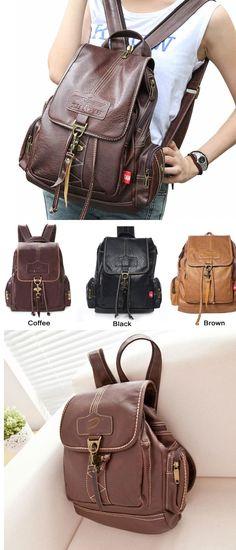 69016560f4c3 Vintage Brown Button Preppy Backpack School Bag Packsack only  39.99