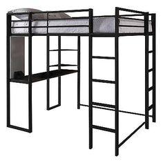 Full Loft Bed Black Desk Bookshelves Workstation Metal Frame Student Furniture