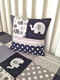 Elephant Crib Quilt and Patchwork Pillow cover in navy , gray and white, ready to ship. $195.00, via Etsy. #elephant