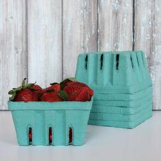Strawberries in teal baskets