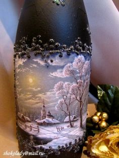 Hand painted wine bottle by Sheilamarielub Wine Bottle Glasses, Wine Bottle Art, Painted Wine Bottles, Diy Bottle, Painted Wine Glasses, Wine Bottle Crafts, Jar Crafts, Diy Glasses, Glass Bottles