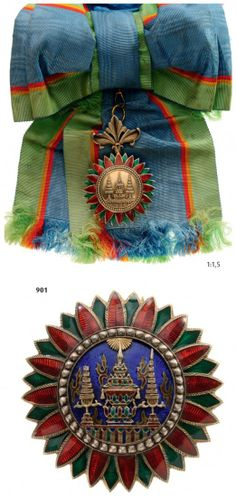 ORDER OF THE CROWN OF SIAM : Lot 2611  royal order thailand blue sash border  green, red