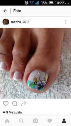 Uñas Pretty Toe Nails, Cute Toe Nails, Sassy Nails, Diy Nails, Cute Pedicure Designs, Toe Nail Designs, French Pedicure, Pedicure Nail Art, Toe Nail Color