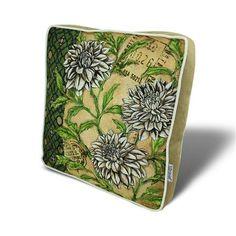 ACHICA | Gravel Vintage Floral Seat Pad, Green