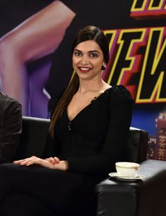 Deepika Padukone looked stunning in a black attire with red lips at 'Happy New Year' press conference in Chennai.