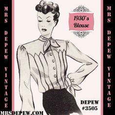 Vintage Sewing Pattern 1930's 1940's Blouse in Any Size Depew 3505 - Plus Size Included -INSTANT DOWNLOAD-