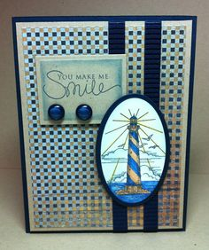oval -- use my light house stamps -- Paper and Ribbons and Stamps! Oh My!
