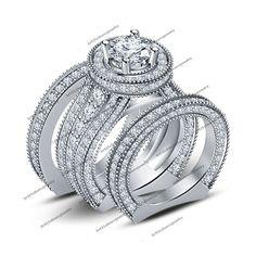 6.5ct Diamond White Gold Fn 925 Silver Men's Ladies Engagement Trio Set Sz 6.5 #br925