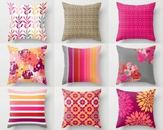 Throw Pillow Cover designs in hot pink, coral, light pink, white, grey, red and orange. Individually cut and sewn, features a 2 sided print and is finished with a zipper for ease of care. SIZES: 16in. X 16in. 18in. X 18in. 20in. X 20in. 26in. X 26in. (euro) 14in. X 20in. (lumbar)