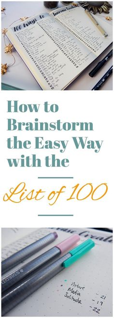 When I am stuck in a project or I'm plagued with too many thoughts or ideas, I turn to my List of 100. This extremely simple technique will change the way you brainstorm. It's fast, effective, and super cathartic. The List of 100 is the solution for achieving brain balance and discovering what's really on your mind. #CoachingDegreesforBusiness