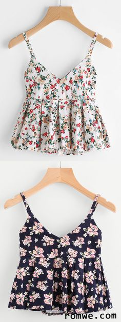 Shop Ditsy print Peplum Cami Top at ROMWE, discover more fashion styles online. Look Fashion, Diy Fashion, Teen Fashion, Fashion Outfits, Womens Fashion, Crop Top Outfits, Summer Outfits, Casual Outfits, Pretty Outfits