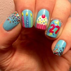 Birthday nails by creatinails Birthday Nail Art, Birthday Nail Designs, Nails For Kids, Girls Nails, Love Nails, Pretty Nails, Nail Art Hacks, Cute Nail Designs, Creative Nails