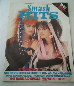 Vintage 1984 Smash Hits Magazine with Strawberry Switchblade cover.