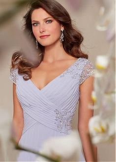 Buy discount Chic Chiffon V-neck Cap Sleeves Floor-length Mother of the Bride Dresses at Dressilyme.com