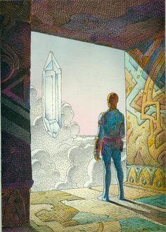 Moebius, Flying Crystal, 1986. Pen + Ink