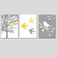 Nursery Art Prints Modern Bird Trio Set of Three 5x7
