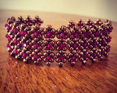 Aquamarine & silver beaded cuff bracelet by AmyKanarekDesigns