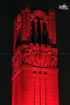 Red illuminated at NCSU Belltower means a Wolfpack victory! Photo by Matt Robinson - RaleighSkyline.com