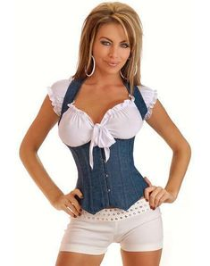 Gender: Women Item Type: Bustiers & Corsets Pattern Type: Solid Material: Spandex,Nylon,Polyester Material Composition: Polyester Model Number: C8304 Decoration: Button Style: Sexy is_customized: Yes Fabric Type: Broadcloth Color Style: Natural Color Color: Black/Blue Size: S/M/L/XL/XXL Drop shipping: Accept Corset Sexy, Denim Corset, Leather Bustier, Underbust Corset, White Corset, Steampunk Corset, Gothic Corset, Denim And Lace, Blue Denim