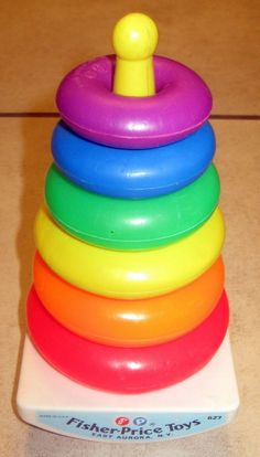 Fisher Price stacking rings--One of my first memories. my cousin Pam and I… Jouets Fisher Price, Fisher Price Toys, Vintage Fisher Price, Retro Toys, Vintage Toys, Vintage Games, I Remember When, Sweet Memories, Old Toys