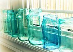 The Lab on the Roof: DIY Tinted Blue Mason Jars - Πως να φτιάξεις μόνη σου vintage blue βάζα