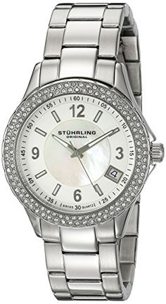 Women's Wrist Watches - Stuhrling Original Womens 88701 Vogue Iris Analog Display Swiss Quartz Silver Watch *** Details can be found by clicking on the image. (This is an Amazon affiliate link)