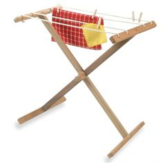 Montessori clothes drying rack - Montessori Services ($35.00) Along with pins and a basket (both sold separately) this is a great activity for toddlers and up. The hand strength and movement required for the pins is a great pre-writing dexterity exercise. We are thinking next Christmas for Q who will be 18 months.