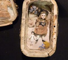 Antique Presentation Box w/ French Bisque Doll and Frozen Charlotte and Accessories