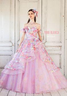 9cee2a8560694 YB-15756(PI) - 桂由美 カラードレス - 格子柄と花を形どったオパールオーガンジーに、バラ柄をプリントした、華やかな色使いのソワレ。  ホースヘアーでフレアーを強調 ...