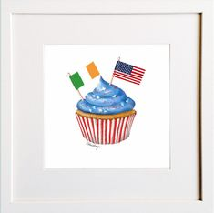Irish American Cupcake Print American Cupcakes, Irish Design, Irish American, Framed Prints, Art Prints, Pigment Ink, Colour Schemes, Watercolor Paper, All The Colors