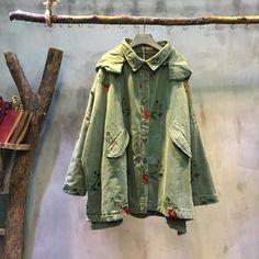 New Arrival #Flower #Embroidery #Hooded #Denim #Coat Loose #Korean #Coat