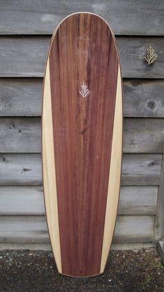 """Tilleysurfboards 6'0 x 22 1/4"""" in Redwood and Port Orford cedar"""