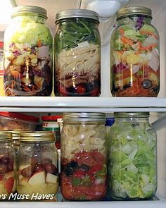 Mason Jar Salads With Recipes and Packing Order! Last 7 days in fridge. I am quite inclined to grab one when it is all ready to go and looks good! Careful with the dressing choices and you can't go wrong with these!
