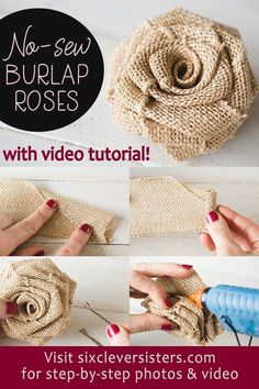 Easy DIY Burlap Roses that can be made in minutes, a no sew easy project! Post includes a video tutorial. NO-SEW DIY Burlap Roses - step-by-step photo instructions and video tutorial! Make these rustic DIY burlap roses in just one minute! Burlap Projects, Burlap Crafts, Easy Sewing Projects, Fabric Crafts, Diy And Crafts, Fabric Roses Diy, Burlap Decorations, Burlap Fabric, No Sew Crafts