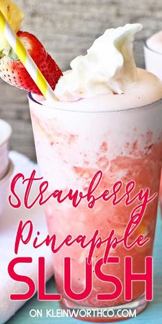 Strawberry Pineapple Slush is an easy summer drink recipe that's so delicious! Strawberries & pineapple are a great combo! Tasty Food Photography ebook too. Refreshing Summer Drinks, Fruity Drinks, Smoothie Drinks, Non Alcoholic Drinks, Yummy Drinks, Healthy Drinks, Detox Drinks, Beverages, Detox Juices