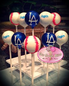 Our Los Angeles Dodger Inspired cake pops #oursweetbites rsweetbites@gmail.com