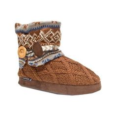 Women's MUK LUKS Patti Slipper Bootie - Brown Casual ($38) ❤ liked on Polyvore featuring shoes, slippers and brown