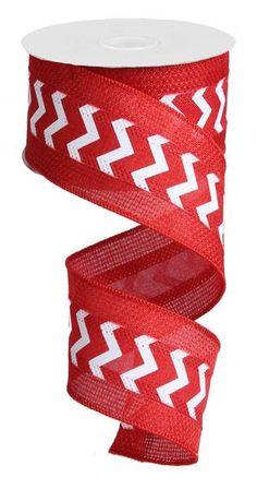 2.5 Red Burlap Mini Chevron Ribbon  RG800424 by CustomWreathDecor
