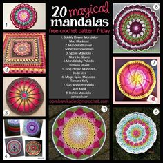 Free Crochet Pattern Friday! 20 Magical Mandalas! Enjoy these beautiful designs :) #crochet #mandala