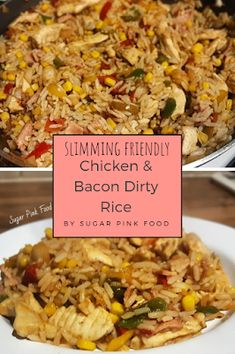 Syn Free Slimming World Friendly Chicken & Bacon Dirty Rice Recipe. Easy to make, and extremely delicious! Slimming World Fakeaway, Slimming World Dinners, Slimming World Chicken Recipes, Slimming World Recipes Syn Free, Slimming Eats, Dirty Rice Slimming World, Fake Away Slimming World, Kfc, Slimmers World Recipes