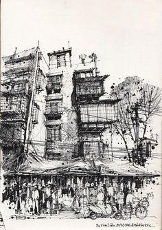 drawings of sketches Landscape Sketch, Landscape Drawings, Architecture Drawings, Classical Architecture, City Drawing, Drawing Sketches, Art Drawings, Sword Drawing, Urban Sketchers