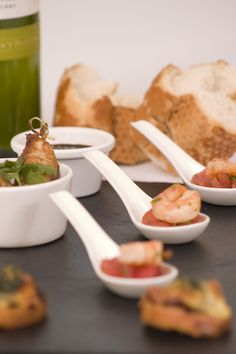 Fresh king prawn ceramic spoon canapes. Party Food - Wedding Food - Event Food - Nibbles - canapes