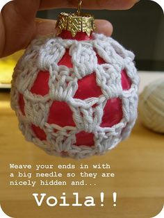Crocheted Baubles. Crochet covered ornaments