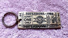 SOLD - SUPERBOWL JAN. 1986 XX brass metal ticket key chain CHICAGO BEARS
