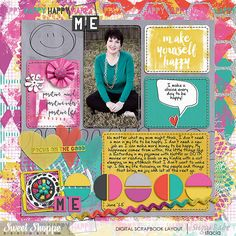 Make-Yourself-Happy by Stacia Hall - Be Happy Bundle by Studio Basic and Shawna Clingerman; EZ Albums 10 Rounded and coordinating stitching by Erica Zane; Custom Font