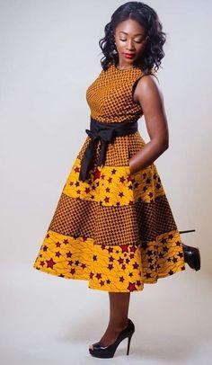 African mixed print dress, Ankara mixed print dress, African print fit and flare dress, Ankara sleev African Fashion Designers, Latest African Fashion Dresses, African Print Fashion, Africa Fashion, Women's Fashion Dresses, Ankara Fashion, Nigerian Fashion, African Inspired Fashion, Fashion Clothes