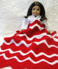 Crocheted Doll Blanket Chevron Throw Lap Blanket by DollPatchworks, $18.00