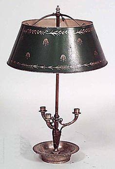 French Empire lighting bouillotte lamp bronze